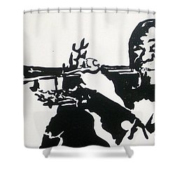 Shower Curtain featuring the drawing Armstrong Feeling Happy by Robert Margetts