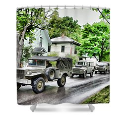 Army Jeeps On Parade Shower Curtain
