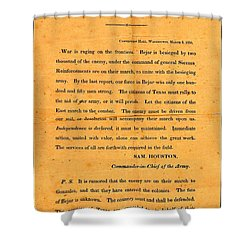 Texian Army Orders Call To Arms Broadside From Sam Houston 1836 Texas Revolution Shower Curtain
