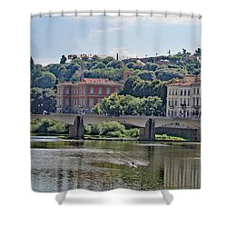 Arno River And Bridge Shower Curtain by Allan Levin