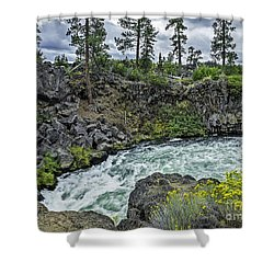 Around The Bend Shower Curtain by Nancy Marie Ricketts