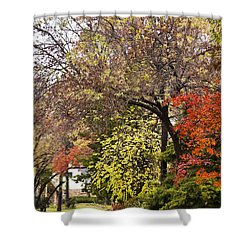Shower Curtain featuring the photograph Around The Corner by Joan Bertucci