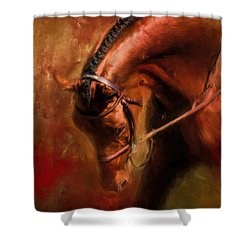 Around The First Turn Equestrian Art Shower Curtain