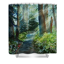 Shower Curtain featuring the painting Around The Path by Kerri Ligatich