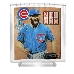 Shower Curtain featuring the drawing Arrieta No Hitter - Vol. 1 by Melissa Goodrich
