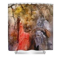 Shower Curtain featuring the painting Arrival by Mo T