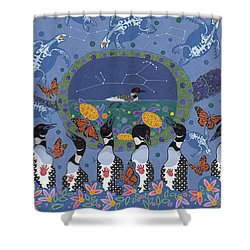 Shower Curtain featuring the painting Arrival Of Wintermaker by Chholing Taha