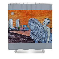 Shower Curtain featuring the painting Arrival To San Diego by Jasna Gopic