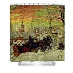 Arriving For The Holidays Shower Curtain by Boris Mihajlovic Kustodiev