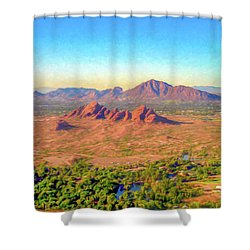Arriving In Phoenix Digital Watercolor Shower Curtain