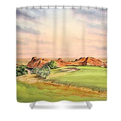 Shower Curtain featuring the painting Arrowhead Golf Course Colorado Hole 3 by Bill Holkham