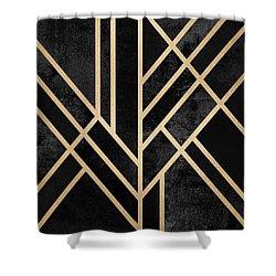 Charming Art Deco Black Shower Curtain