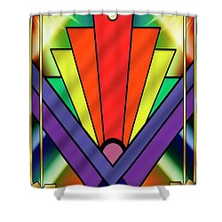 Shower Curtain featuring the digital art Art Deco Chevron 1 V - Chuck Staley by Chuck Staley