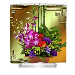 Shower Curtain featuring the digital art Art Deco Floral Arrangement by Chuck Staley