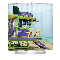 Art Deco Lifeguard Shack Shower Curtain