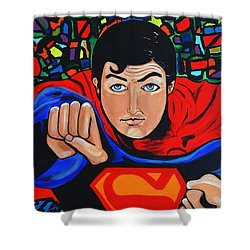 Art Deco  Superman Shower Curtain by Nora Shepley