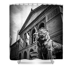 Art Institute Of Chicago Lion Statue In Black And White Shower Curtain by Paul Velgos