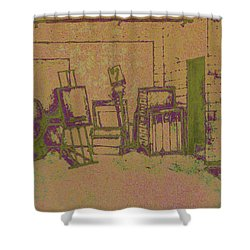 Art Intro Mixed Media Shower Curtain