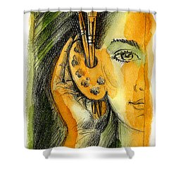 Art Of Listening Shower Curtain by Leon Zernitsky