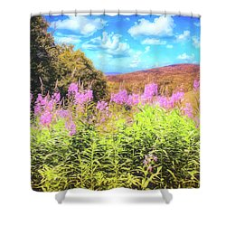 Art Photo Of Vermont Rolling Hills With Pink Flowers In The Foreground Shower Curtain