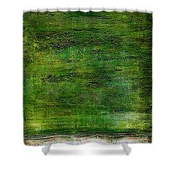 Art Print Green White Shower Curtain