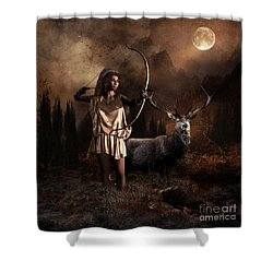 Shower Curtain featuring the digital art Artemis Goddess Of The Hunt by Shanina Conway