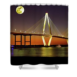 Arthur Ravenel Bridge At Night Shower Curtain