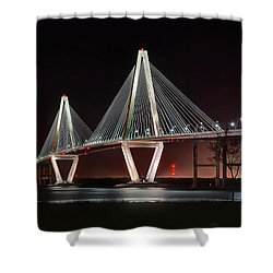 Shower Curtain featuring the photograph Arthur Ravenel Jr. Bridge At Midnight by George Randy Bass
