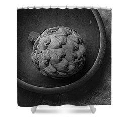 Artichoke Black And White Still Life Three Shower Curtain by Edward Fielding