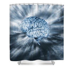 Artificial Intelligence With Human Brain Shower Curtain by Christian Lagereek