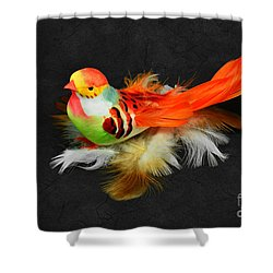 Artificial Orange Bird Shower Curtain