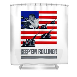 Artillery -- Keep 'em Rolling Shower Curtain by War Is Hell Store