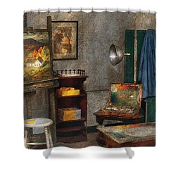 Artist - Painter - The Artists Studio Shower Curtain by Mike Savad