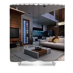 Artist Impression 3d Render Apartment Interior Shower Curtain By KCL Solutions