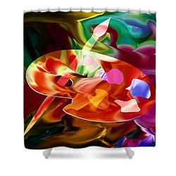 Artist Palette In Neon Colors Shower Curtain by Annie Zeno