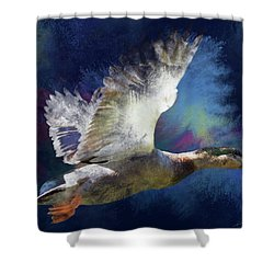 Artistic Duck In Flight Shower Curtain