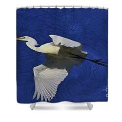 Shower Curtain featuring the painting Artistic Egret by Deborah Benoit