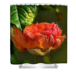 Artistic Rose And Leaf Shower Curtain by Leif Sohlman