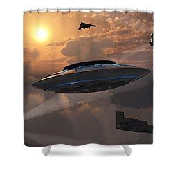 Artists Concept Of Alien Stealth Shower Curtain by Mark Stevenson