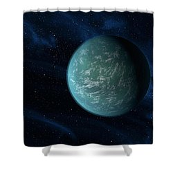 Artists Concept Of Kepler 22b, An Shower Curtain by Stocktrek Images