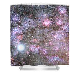 Shower Curtain featuring the digital art Artist's View Of A Dense Galaxy Core Forming by Nasa