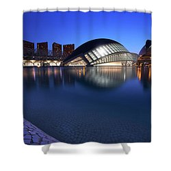Arts And Science Museum Valencia Shower Curtain by Graham Hawcroft pixsellpix