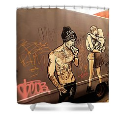Artsy Love Scenes On New York Truck Shower Curtain by Funkpix Photo Hunter