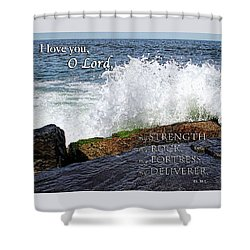 My Rock And My Fortress Psalm 18 Shower Curtain by Eleanor Abramson