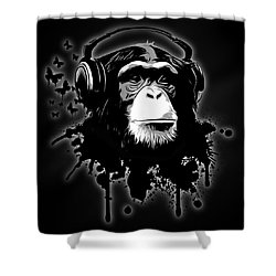 Monkey Business - Black Shower Curtain