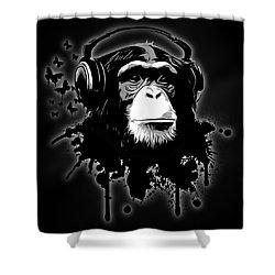 Monkey Business - Black Shower Curtain by Nicklas Gustafsson