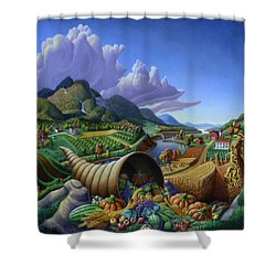 Horn Of Plenty - Cornucopia - Autumn Thanksgiving Harvest Landscape Oil Painting - Food Abundance Shower Curtain