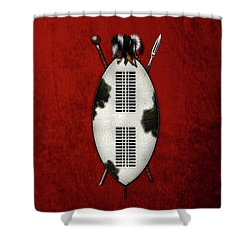 Zulu War Shield With Spear And Club On Red Velvet  Shower Curtain