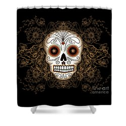 Vintage Sugar Skull Shower Curtain by Tammy Wetzel