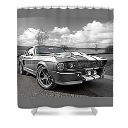 1967 Eleanor Mustang In Black And White Shower Curtain